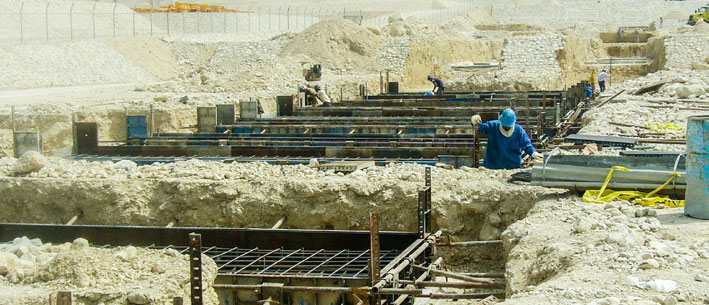 Construction of the main pipe rack foundations, pedestals, and installation of anchor blots – Phases 17 and 18